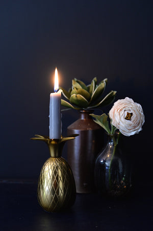 Gold or Silver Pineapple Candle Holder