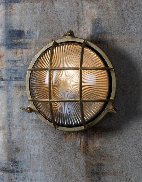 Circular Brass Deco Wall Light