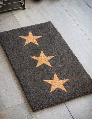 Black Triple Star Doormat