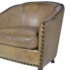 Olive Green Buffalo Leather Tub Chair