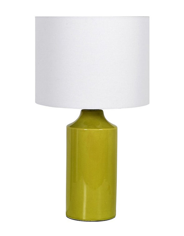 Lime Crackle Lamp with Linen Shade