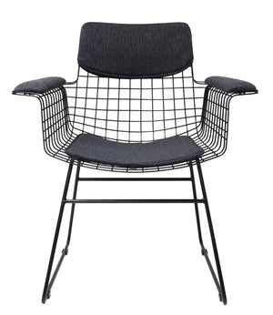 Black Metal Wire chair with Arms