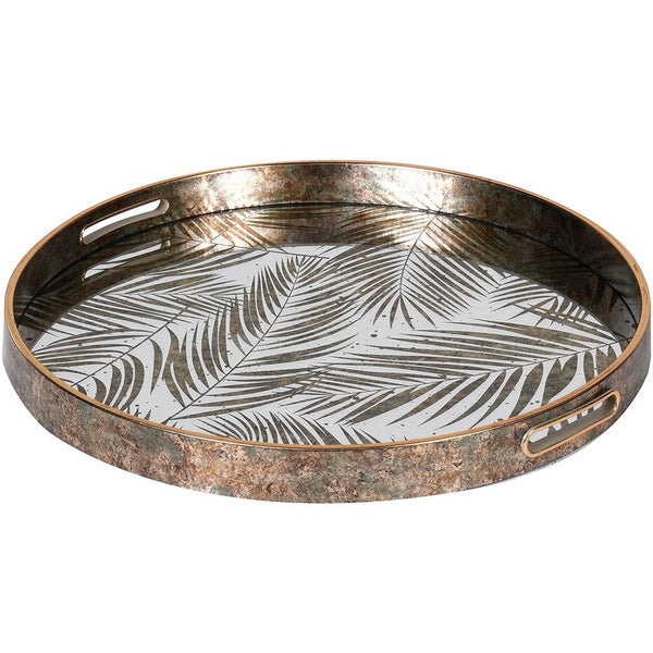 White and Gold  Fern Round Tray