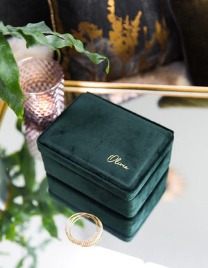 Emerald Velvet Jewellery Box Embossed With Gold