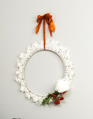Hand Made Macrame Christmas Wreath