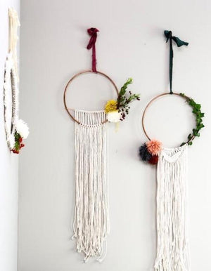 Handmade Macrame Wreath With Pom Pom
