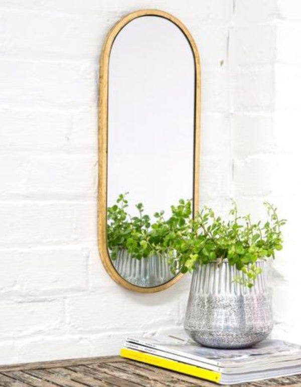 Gold or Silver Gilt Leaf Oval Mirror