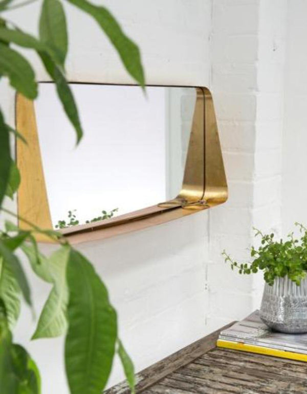 Gold Horizontal Wall Mirror with Shelf