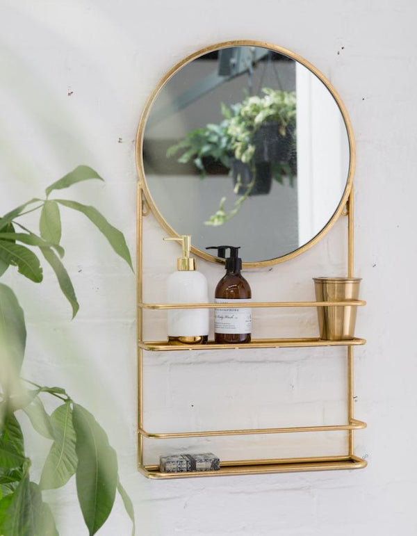 Gold or Silver Circular Wall Mirror with Shelfs - PRE ORDER AUGUST