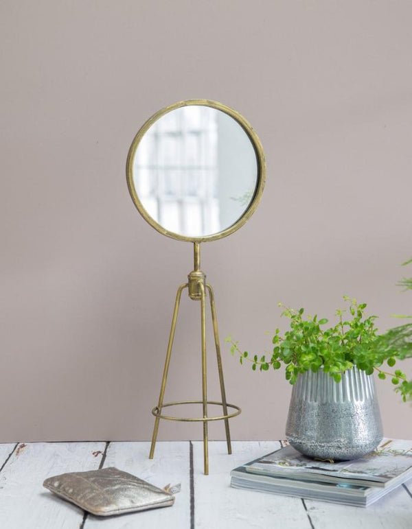 Antiqued Gold Tripod Table Mirror - 1 week delivery