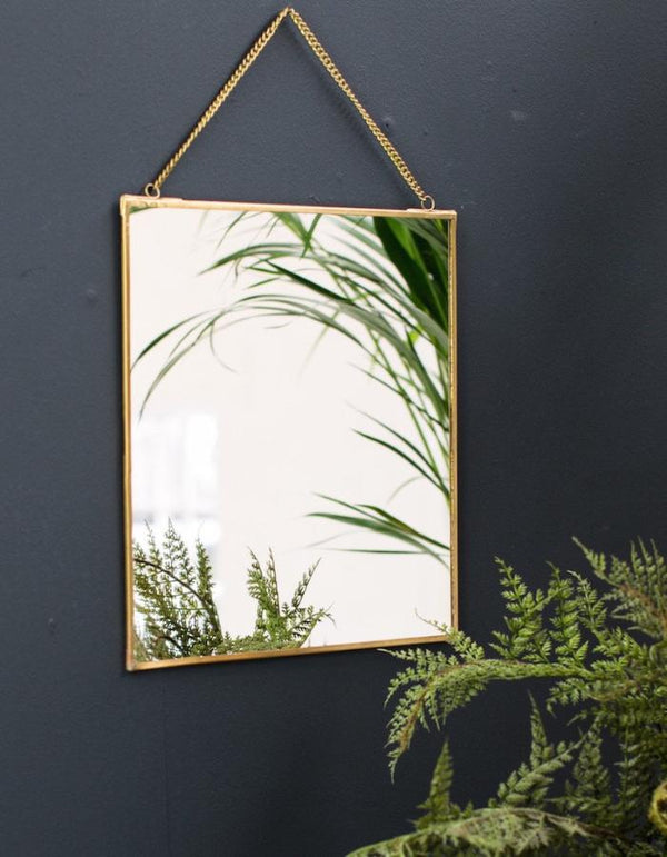 Antique Brass Square Mirror