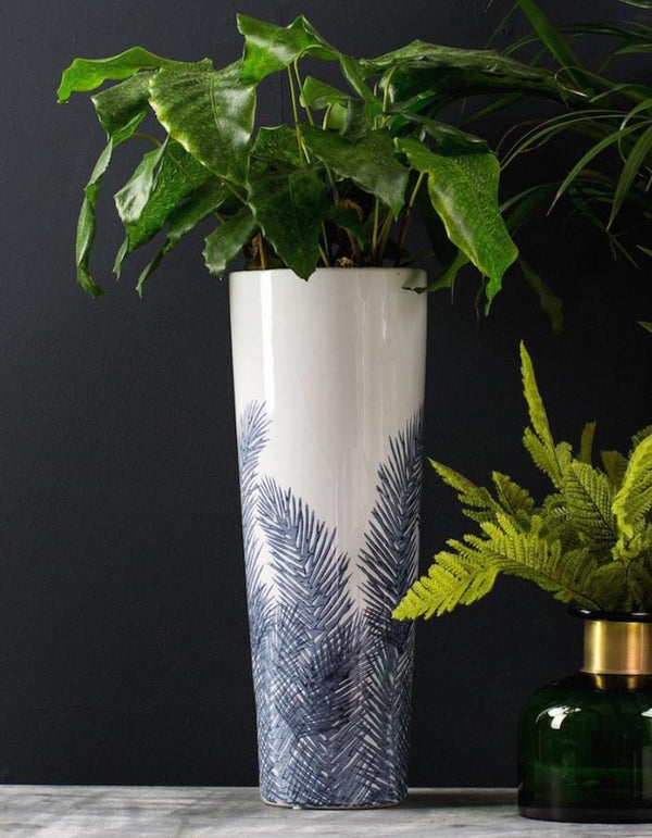 Tall Blue and White Fern Vase