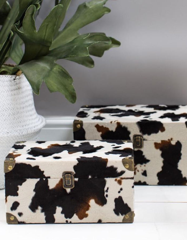 Set of Two Faux Cowhide Boxes