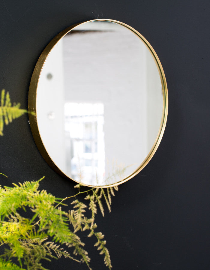 Round Gold Edged Mirror