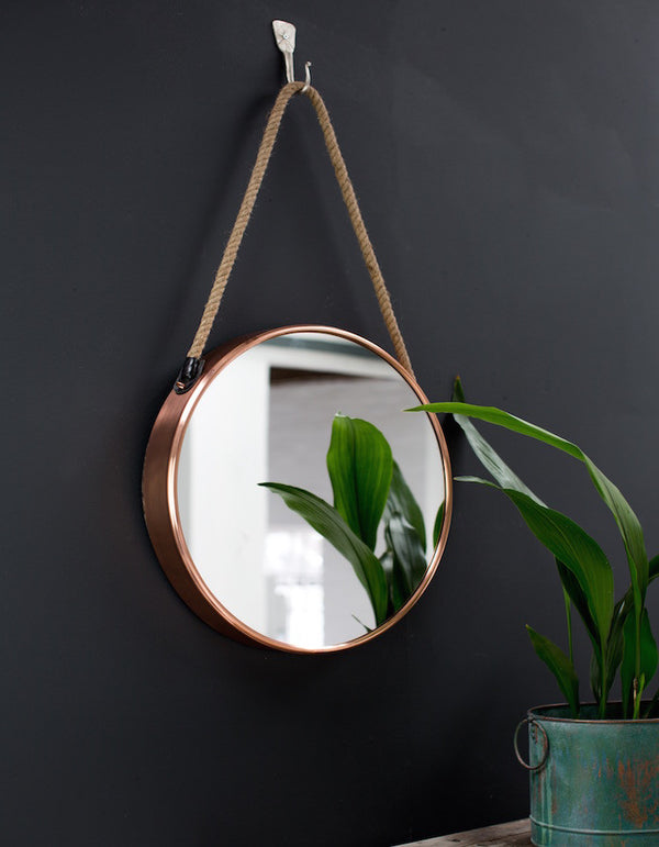Round Copper Mirror On A Rope