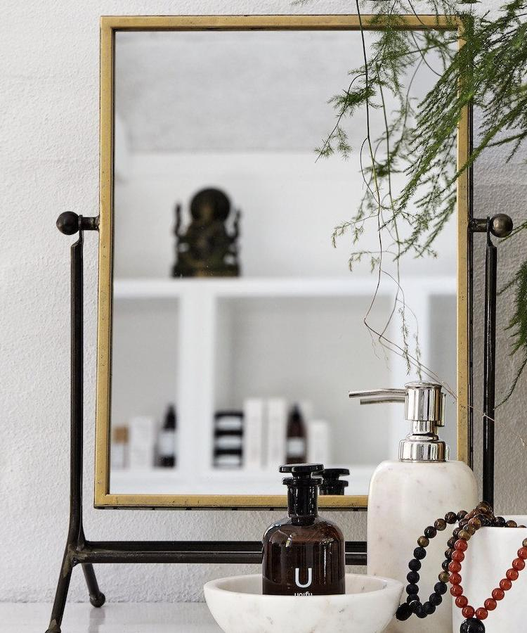 vanity mirror on stand. Gold vanity mirror on a stand  The Forest Co