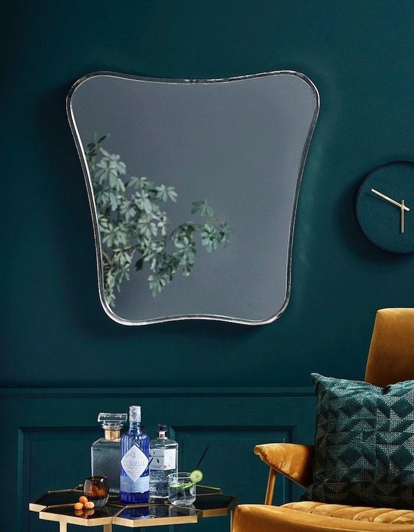 Large Silver Finished Curved Mirror
