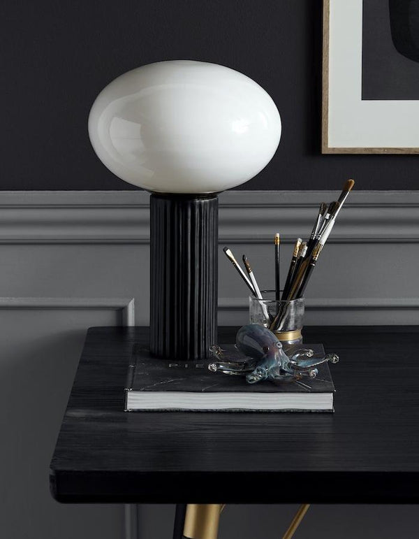 Opal Glass Table Lamp with Black Stem