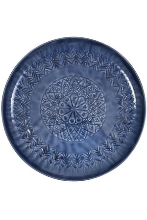 Blue Floral Serving Tray With Raised Edges