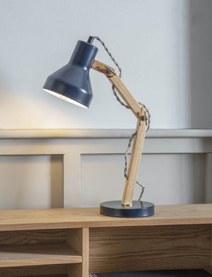 Black and Wood Desk Lamp