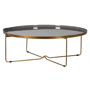 Antique Gold and Taupe Enamel Coffee Table
