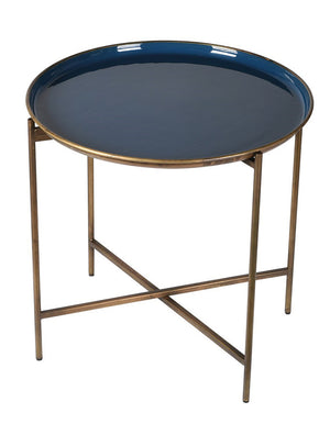 Antique Gold and Blue Enamel Tray Table