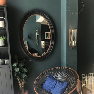 Large Black and Gold Oval Wall Mirror
