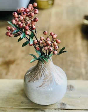 Cream Palm Print Ceramic Vase
