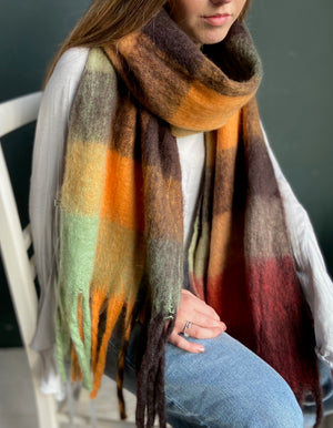Colourful Block Design Fringed Scarf