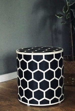 Black and White Honeycomb Stool