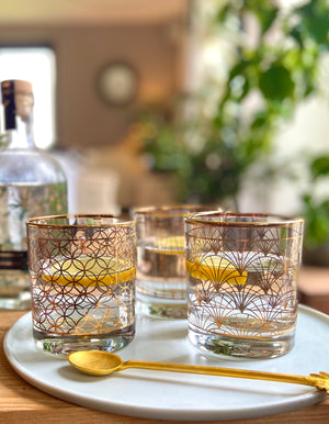 Set of Three Gold Print Cocktail Tumblers