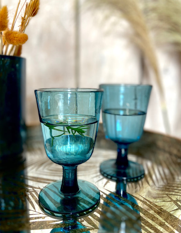 Blue Stemmed Wine Glass