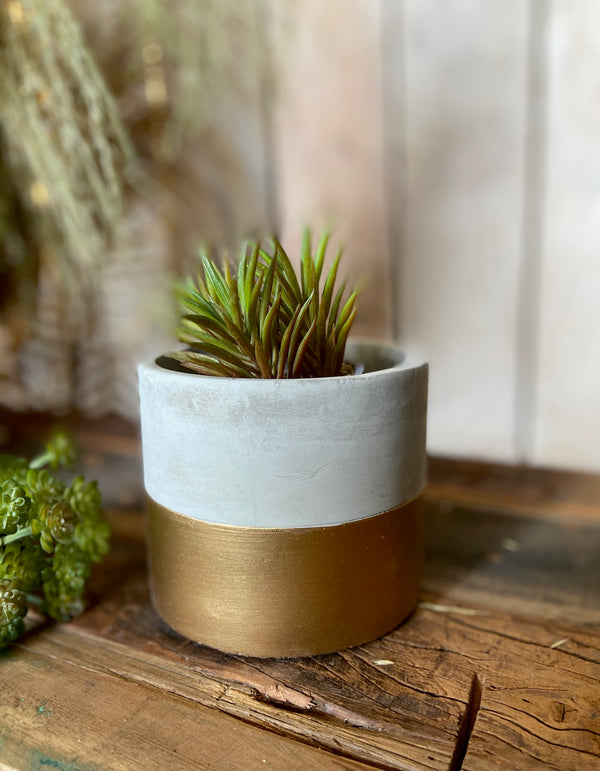 Mini Cement and Gold Colour Block Planter