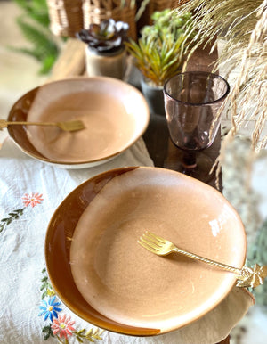 A set of 2 Pink Ceramic 70s Serving Bowls