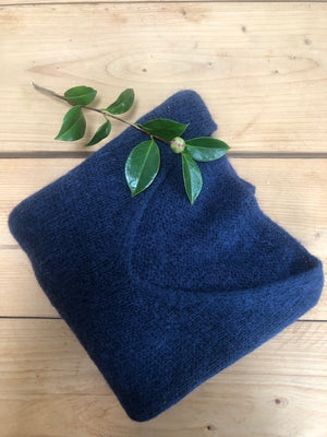 Mohair Navy Blue V Neck Jumper
