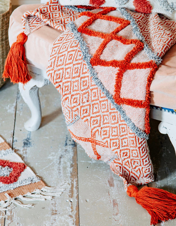 Burnt Orange Geometric Tasseled Throw