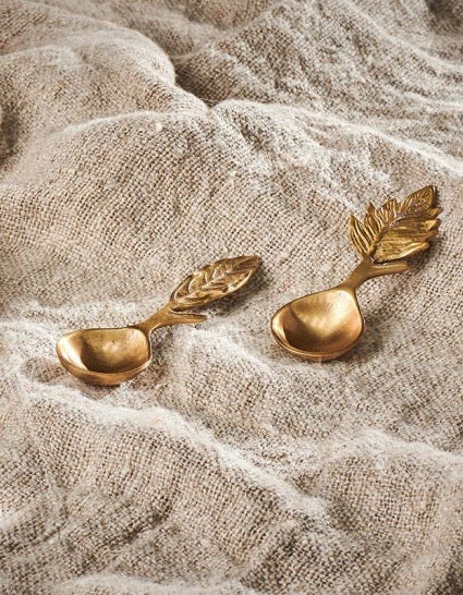 Antique Brass Woodland Leave Mini Spoons