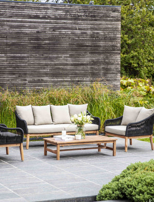 Black And Acacia Outdoor Sofa Set  PRE ORDER MAY