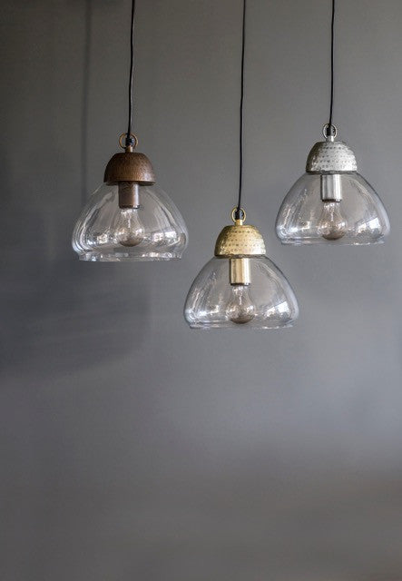 Etched Metal & Glass Pendant Lights