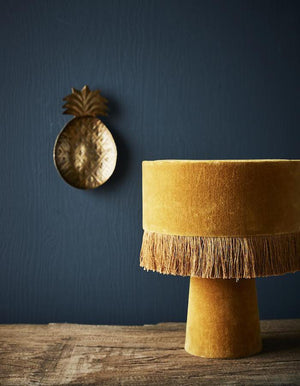 Mustard or Grey Velvet Fringed Table Lamp