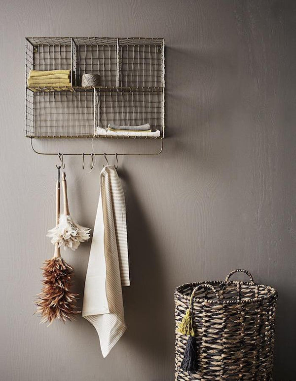 Danish Wire Storage Unit with Hooks