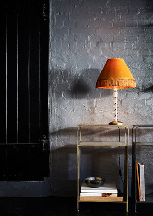 Bubble Glass and Brass Lamp with Mustard Fringe
