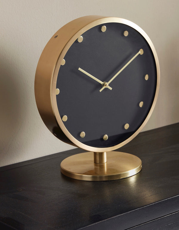 Gold and black table clock