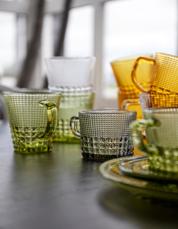 Patterned Glass Colourful Cups Various
