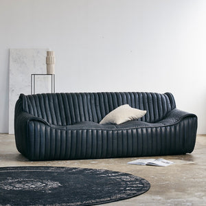 Casual Blackened Leather Sofa