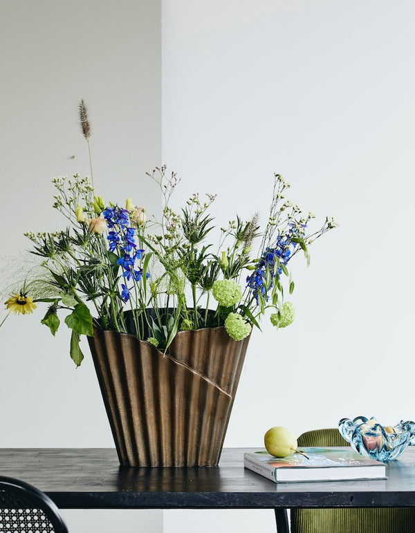 Pleated Metal Vase. PRE ORDER MARCH