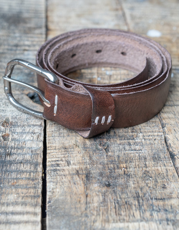 Brown Weathered Leather Belt