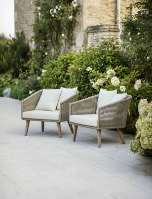 Pair Of Acacia And Rattan Armchairs