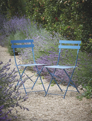 Set of Two Foldable Blue Bistro Chairs