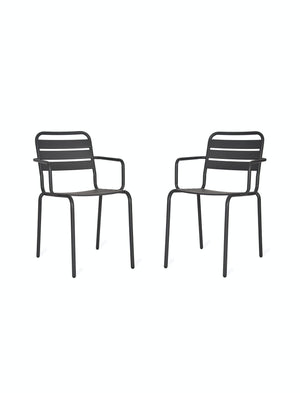 Set Of Two Charcoal Garden Chairs.